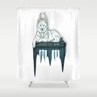 bad wolf Shower Curtains featuring BAD WOLF by Emma Lindkvist