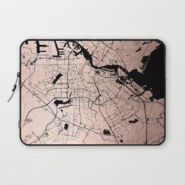 Amsterdam Rosegold on Black Street Map Laptop Sleeve