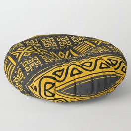 Ethnic African Pattern Yellow and Black N2 Floor Pillow