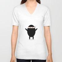 ninja V-neck T-shirts featuring Ninja by LifeSmiles