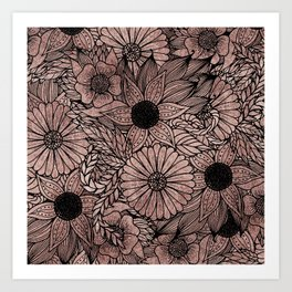 Floral Rose Gold Flowers and Leaves Drawing Black Art Print