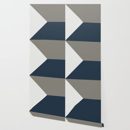 Blue Grey White Abstract Geometric Art Wallpaper