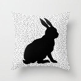 Black Silhouette Sitting Bunny Rabbit Polka Dots on White Throw Pillow