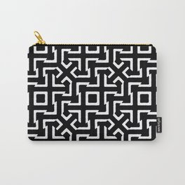Black and White Ethnic Geometric Pattern Carry-All Pouch