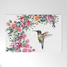 Hummingbird and Flowers Watercolor Animals Welcome Mat