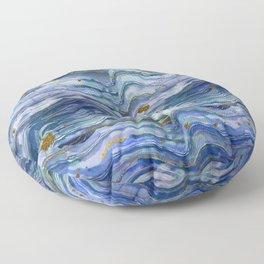 Blue Green Geode Watercolor Floor Pillow