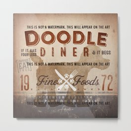 Doodle Diner Dog Kitchen artwork by Stephen Fowler Metal Print