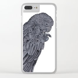 Nibbling Black Cockatoo Clear iPhone Case
