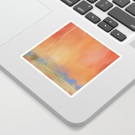 Abstract Landscape With Golden Lines Painting Sticker