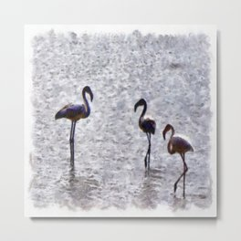 We Are The Three Flamingoes Watercolor Metal Print