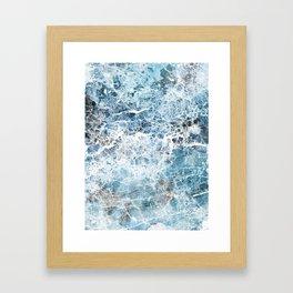 Sea foam blue marble Framed Art Print