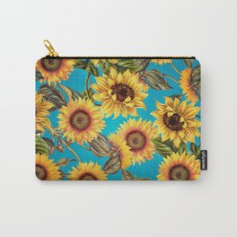 Vintage & Shabby Chic - Sunflowers on Turqoise Carry-All Pouch