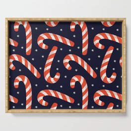 Christmas Candy Canes on Black Serving Tray