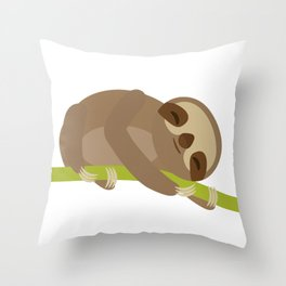 funny and cute Three-toed sloth on green branch Throw Pillow