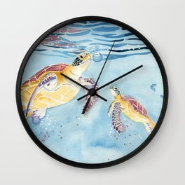 Take A Breath Sea Turtle Wall Clock