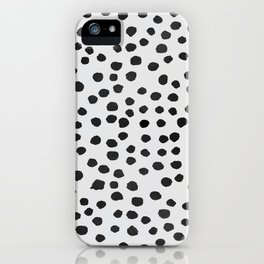 watercolor black polka dots iPhone Case