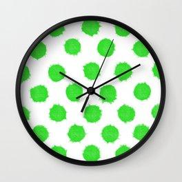 Bright Lime Green Polka Dots to Cheer You Up Wall Clock
