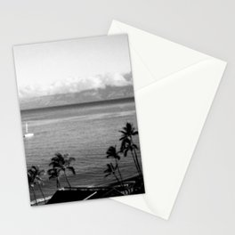 Panorama of Kaanapali Beach in Maui, Hawaii in Black and White - View of Lanai Stationery Cards