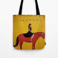 pony Tote Bags featuring Red Pony by Poorboymark