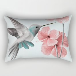 Hummingbird with Hibiscus Rectangular Pillow