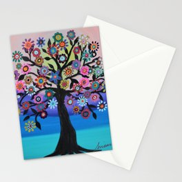 Whimsical Blooming Love Tree of Life Painting Stationery Cards