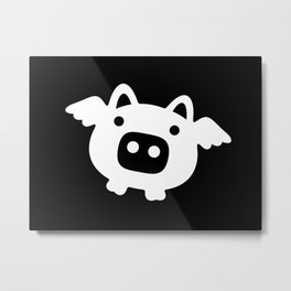 Pigs Will Fly - white on black Metal Print