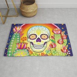 Sugar Skull Rainbow Cactus and Succulents - Colorful Art by Thaneeya McArdle Rug