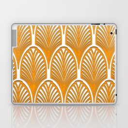 Orange,white,art deco, vintage,fan pattern, art nouveau, vintage, Laptop & iPad Skin