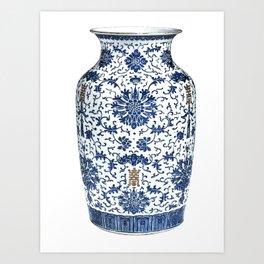 Blue & White Chinoiserie Porcelain Vase with Chrysanthemum Art Print