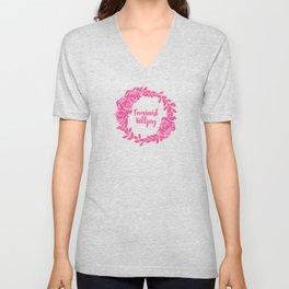 Feminist Killjoy with Beautiful Pink Florals Unisex V-Neck