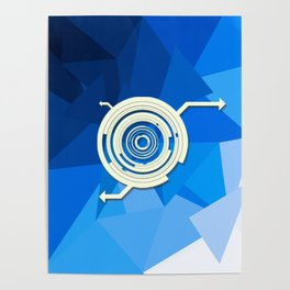 White symbol on blue background Poster
