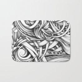 Escher Like Abstract Hand Drawn Graphite Gray Depth Bath Mat