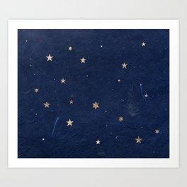 Good night - Leaf Gold Stars on Dark Blue Background Art Print