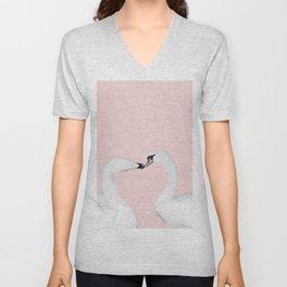 Blush Kiss - Swans in Love - Kissing Swans #1 #decor #art #society6 Unisex V-Neck