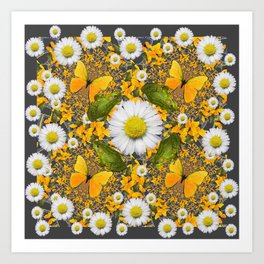 GREEN FROGS & YELLOW  BUTTERFLY WHITE DAISIES Art Print