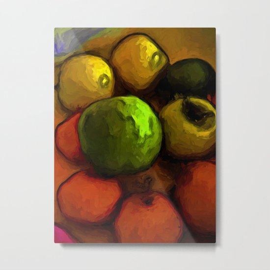 Green Apple with Gold Apples and Orange Mandarins Metal Print