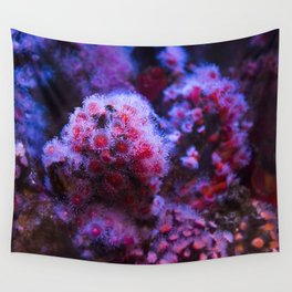 Under the Sea Blooming Magenta Coral Reef Sea anemone Underwater Photography Colored Lustre Print Wall Tapestry