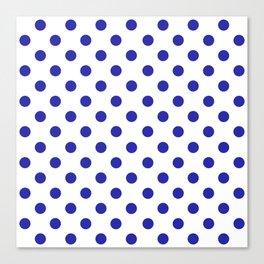 Polka Dots (Navy & White Pattern) Canvas Print