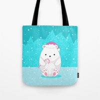 polar bear Tote Bags featuring Polar bear by eDrawings38