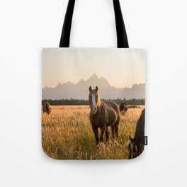 Horses Grazing Below the Tetons Tote Bag