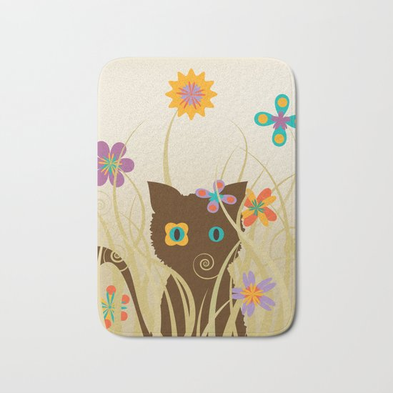 Whimsical Blooming Flowers and Brown Kitty Cat Bath Mat