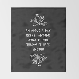 An Apple A Day BW Throw Blanket