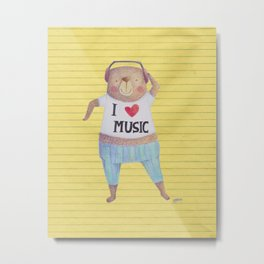 Music Bear Metal Print