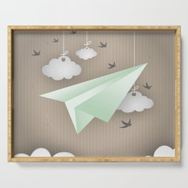 Green Paper Plane Serving Tray