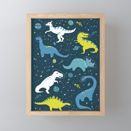 Space Dinosaurs in Bright Green and Blue Framed Mini Art Print