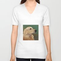 labrador V-neck T-shirts featuring Golden labrador by Carl Conway