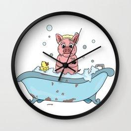 Bathtime Pig Wall Clock