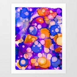 Blue Orange Fluid Art Abstract Ink Art Print