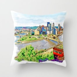 Pittsburgh Aerial View Throw Pillow