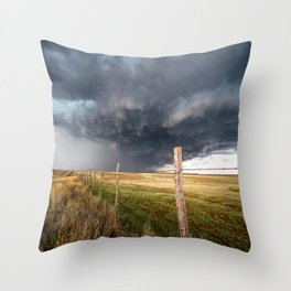 Soft - Storm Along Fence Line in Texas Panhandle Throw Pillow